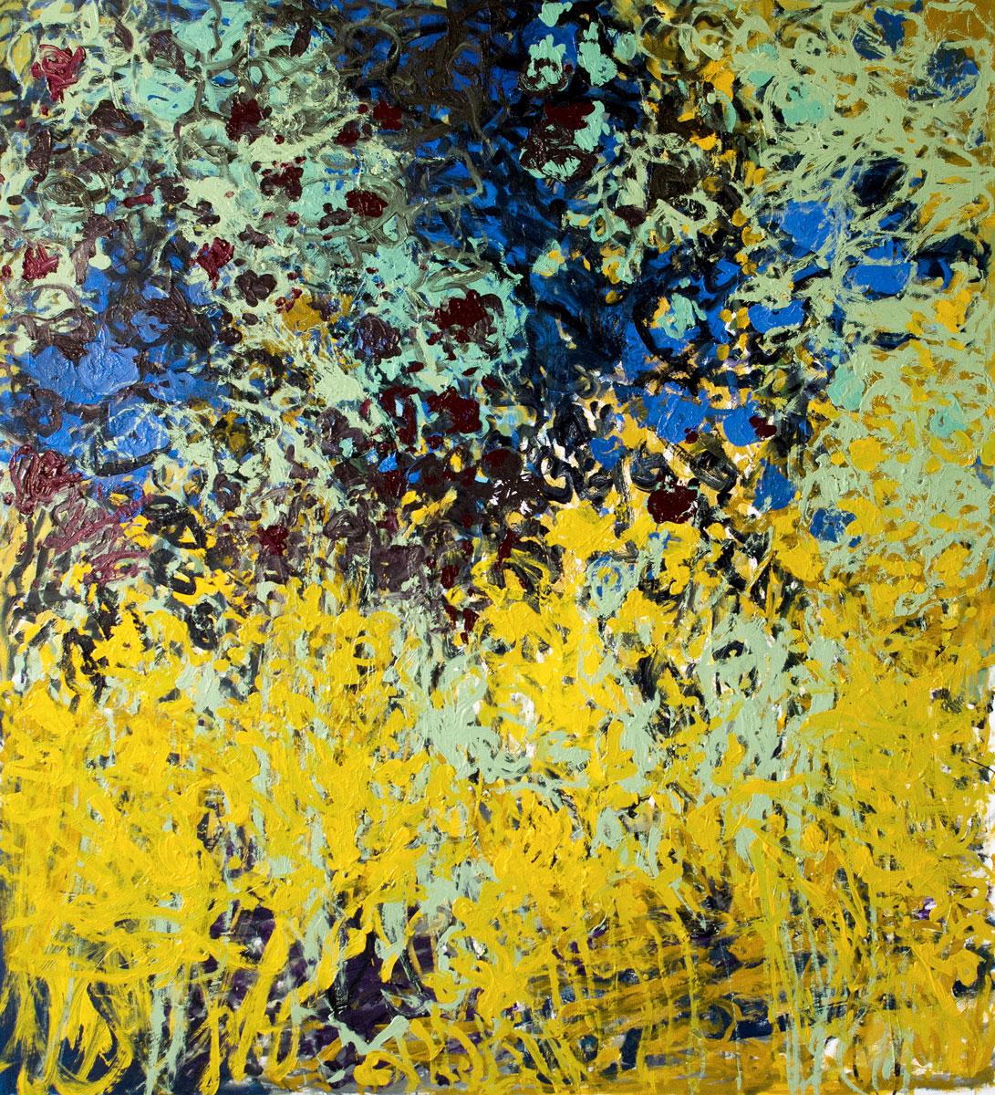 Floraison (cobalt, carmin) - Huile sur toile - 141 x 155 cm - Octobre 2018